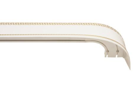 Карниз пластиковый Тесей в комплекте с блендой, белый с золотом