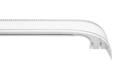 Карниз пластиковый Тесей в комплекте с блендой, белый с хромом